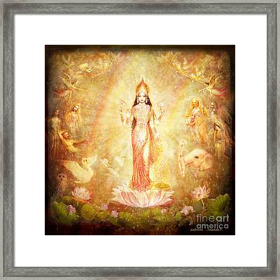Lakshmi With Angels And Muses Framed Print by Ananda Vdovic