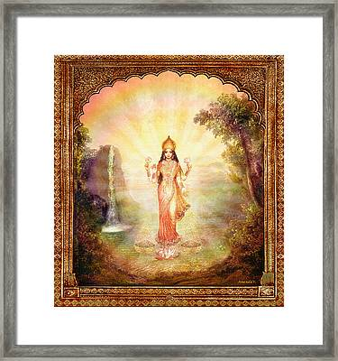 Lakshmi With The Waterfall Framed Print by Ananda Vdovic