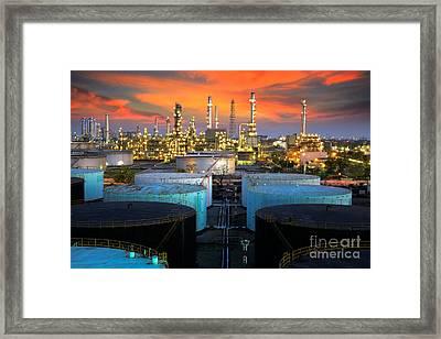 Landscape Of Oil Refinery Industry  Framed Print by Anek Suwannaphoom