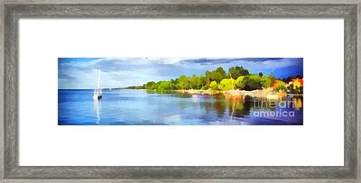 Landscape Of The Balaton Lake Framed Print by Odon Czintos