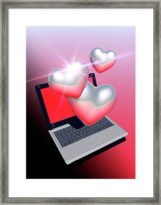 Laptop And Hearts Framed Print by Victor Habbick Visions