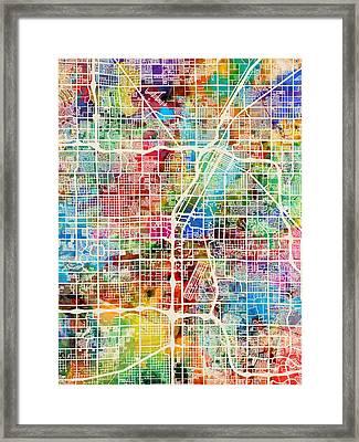 Las Vegas City Street Map Framed Print by Michael Tompsett