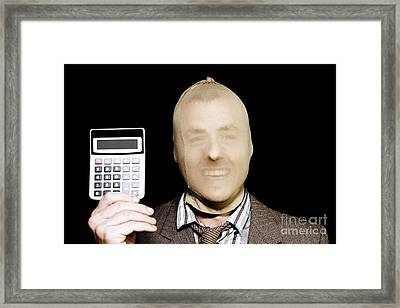 Laughing Robber Holding Calculator On Black Framed Print by Jorgo Photography - Wall Art Gallery