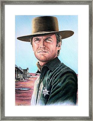 Cowboy Pencil Drawings Framed Print featuring the drawing Law And Order by Andrew Read