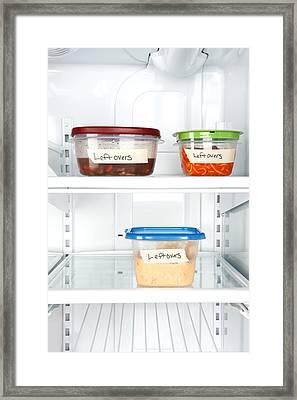 Leftovers In Refrigerator Framed Print by Joe Belanger