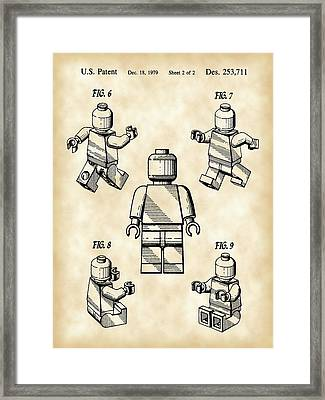 Lego Figure Patent 1979 - Vintage Framed Print by Stephen Younts