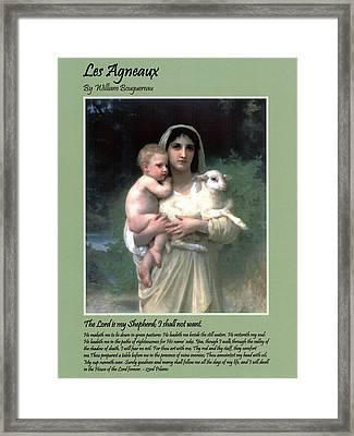Les Agneaux Framed Print by William Bouguereau