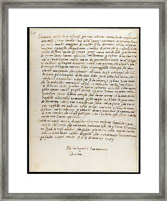Letter Of Michelangelo Framed Print by British Library