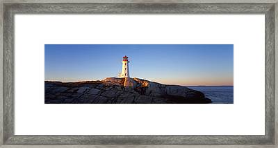 Lighthouse At The Coast, Peggys Point Framed Print by Panoramic Images