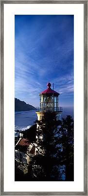 Lighthouse On A Hill, Heceta Head Framed Print by Panoramic Images