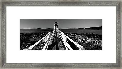 Lighthouse On The Coast, Marshall Point Framed Print by Panoramic Images