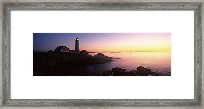 Lighthouse On The Coast, Portland Head Framed Print by Panoramic Images