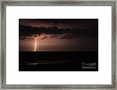 Lightning Over The Ocean Framed Print by Dawna  Moore Photography