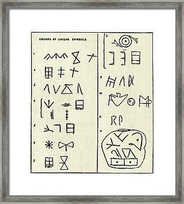 Linear Script Symbols Framed Print by Sheila Terry