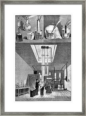 Liquid Air Experiments Framed Print by Science Photo Library