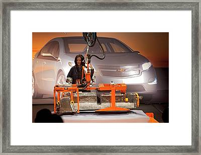 Lithium Ion Battery Pack For Electric Car Framed Print by Jim West