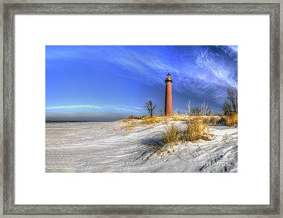 Little Sable Lighthouse In Winter Framed Print by Twenty Two North Photography
