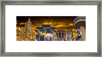 Liverpool Landmarks Montage Framed Print by Paul Madden