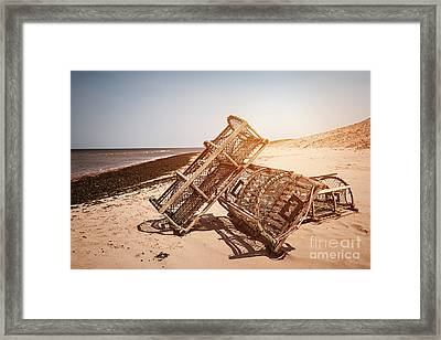 Lobster Traps On Beach Framed Print by Elena Elisseeva