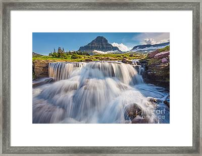 Logan Pass Cascades Framed Print by Inge Johnsson