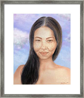 Long Haired Natural Asian Beauty Framed Print by Jim Fitzpatrick