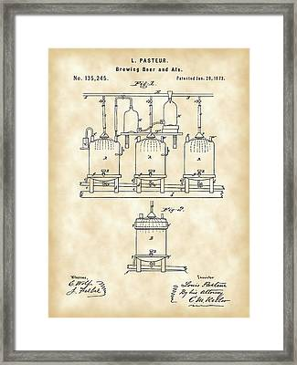 Louis Pasteur Beer Brewing Patent 1873 - Vintage Framed Print by Stephen Younts