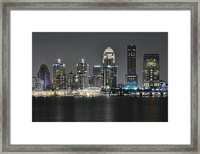 Night Lights Of Louisville Framed Print by Frozen in Time Fine Art Photography