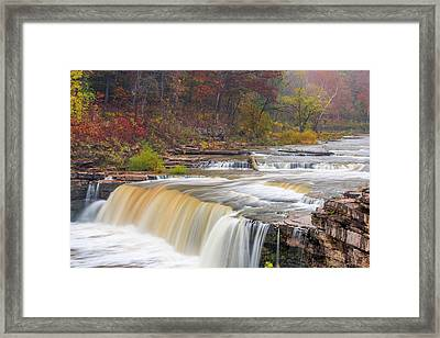 Lower Cataract Falls On Mill Creek Framed Print by Chuck Haney