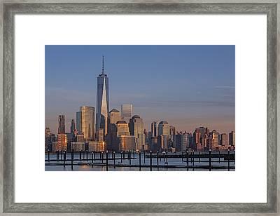 Lower Manhattan Skyline Framed Print by Susan Candelario