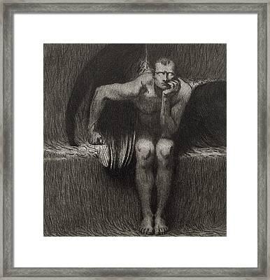 Lucifer Framed Print by Franz von Stuck