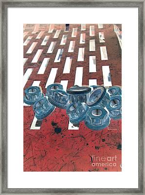 Lug Nuts On Grate Vertical Framed Print by Heather Kirk