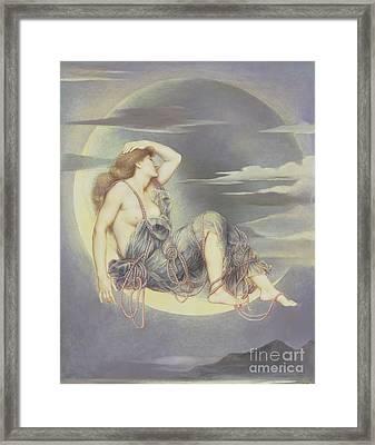 Luna Framed Print by Evelyn De Morgan