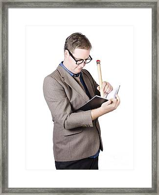 Male Business Nerd Writing Strategy In Note Book Framed Print by Jorgo Photography - Wall Art Gallery