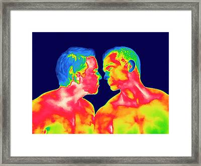 Male Couple Kissing Framed Print by Thierry Berrod, Mona Lisa Production