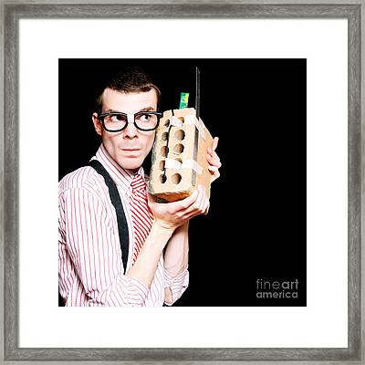 Male Nerd Inventor Holding Brick Mobile Telephone Framed Print by Jorgo Photography - Wall Art Gallery