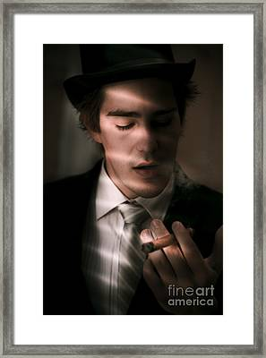 Male Private Eye Investigator Solves Puzzle Framed Print by Jorgo Photography - Wall Art Gallery