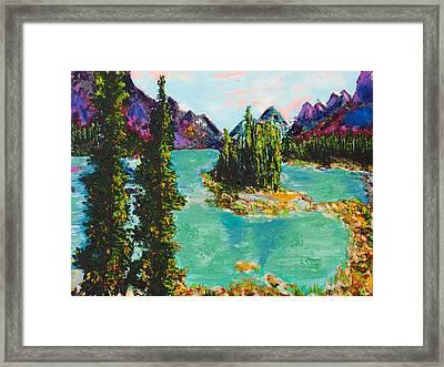 Maligne Lake Jasper Alberta Mountain Framed Print by Joyce Sherwin