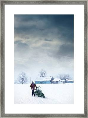 Man Carrying Tree For Christmas/digital Painting Framed Print by Sandra Cunningham