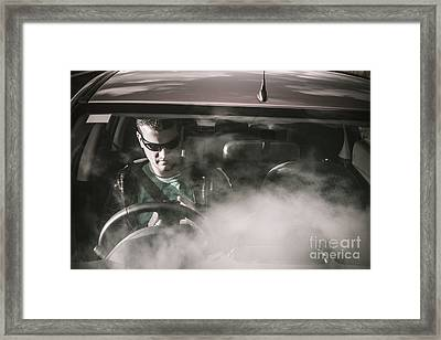 Man Sitting In Broken Down Car With Smoke Framed Print by Jorgo Photography - Wall Art Gallery