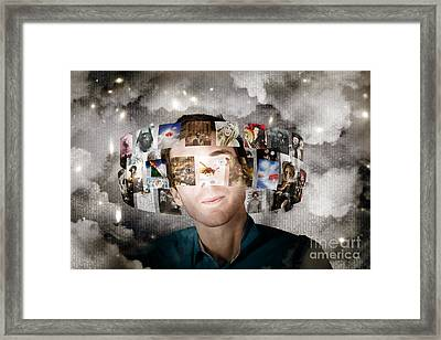 Man Streaming Media With Cloud Server Informatics Framed Print by Jorgo Photography - Wall Art Gallery