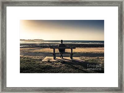Man Watching Australian Sunset On Park Bench Framed Print by Jorgo Photography - Wall Art Gallery