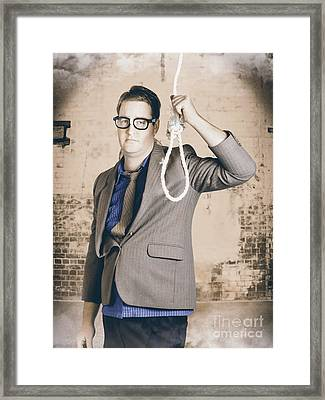 Manager Business Man Holding Noose Rope At Gallows Framed Print by Jorgo Photography - Wall Art Gallery