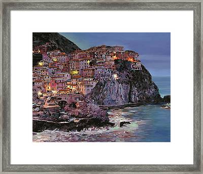 Manarola At Dusk Framed Print by Guido Borelli