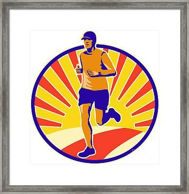 Marathon Runner Athlete Running Framed Print by Aloysius Patrimonio
