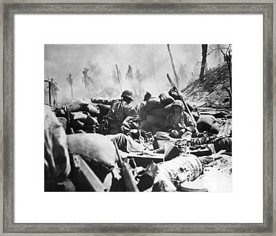 Marines Fight At Tarawa Framed Print by Underwood Archives