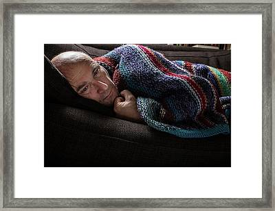 Mature Man In Blanket Framed Print by Mauro Fermariello