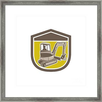 Mechanical Digger Excavator Shield Retro Framed Print by Aloysius Patrimonio