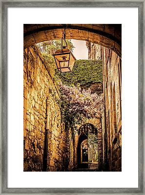 Medieval Village In The South Of France Framed Print by Catherine Arnas