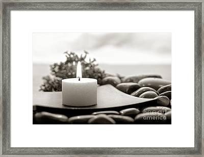 Meditation Candle Framed Print by Olivier Le Queinec