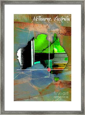 Melbourne Australia Map Watercolor. Framed Print by Marvin Blaine